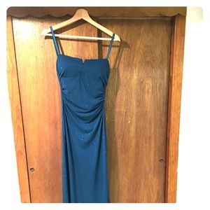 Floor length sparkly blue dress